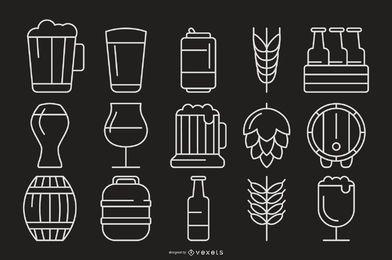 Colección de iconos de trazo de cerveza