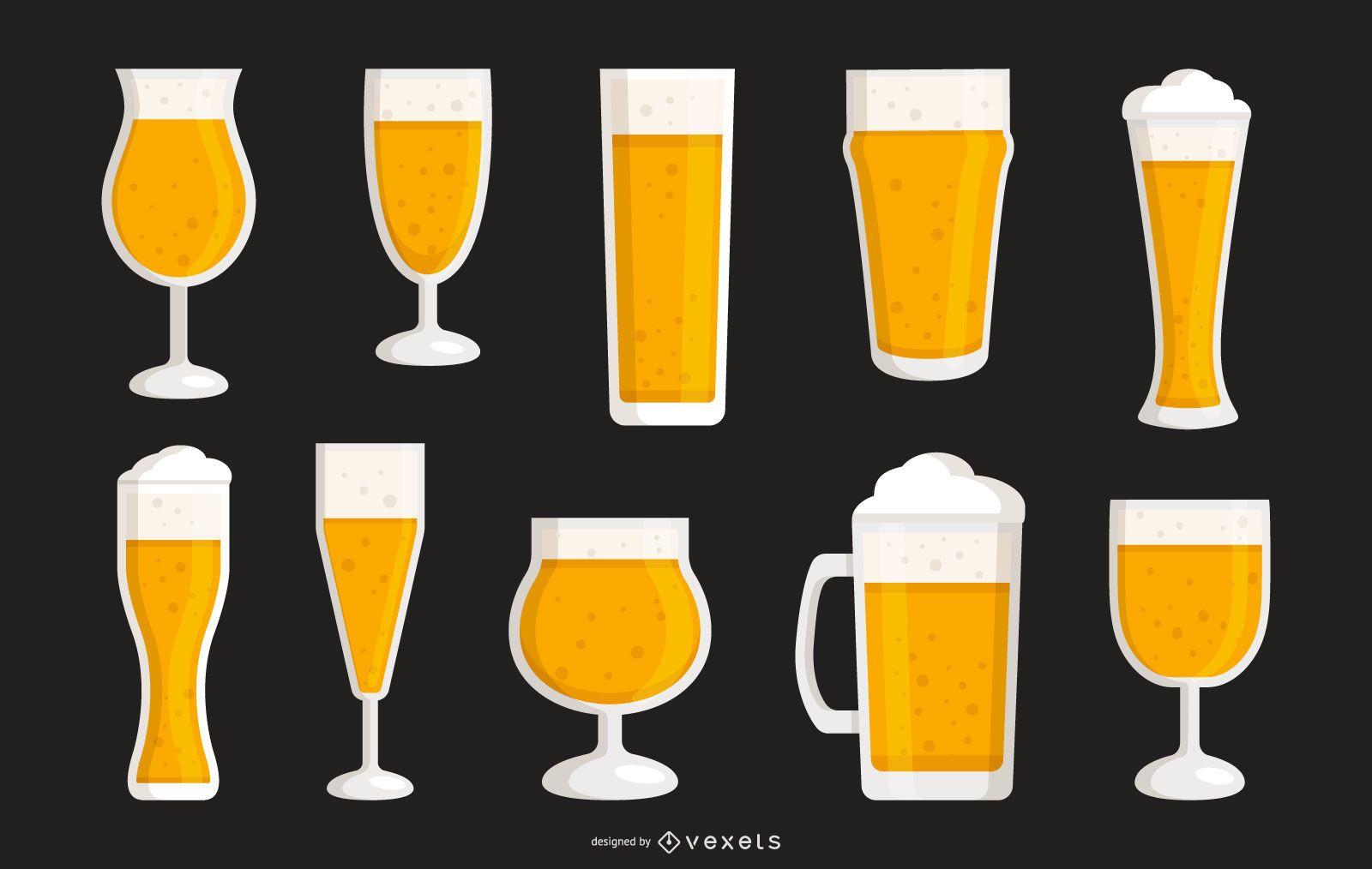 Coleção de vetores de copos de cerveja