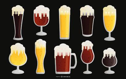 Coleção de vetores de design plano de copo de cerveja