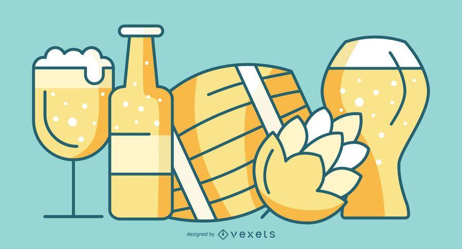 Paquete de estilo plano de elementos de cerveza