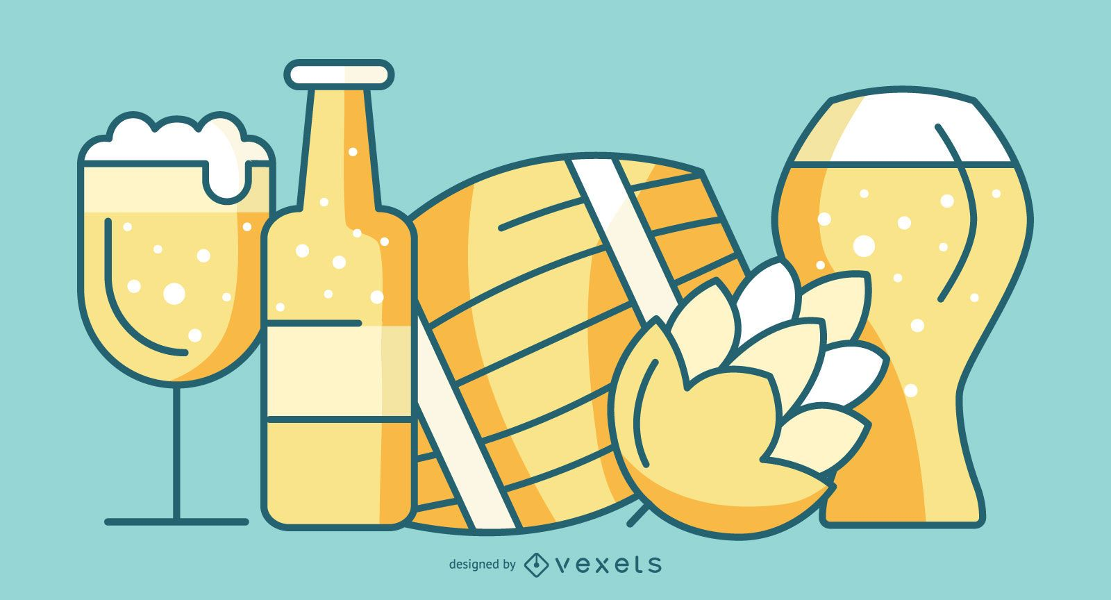 Beer Element Flat Style Pack