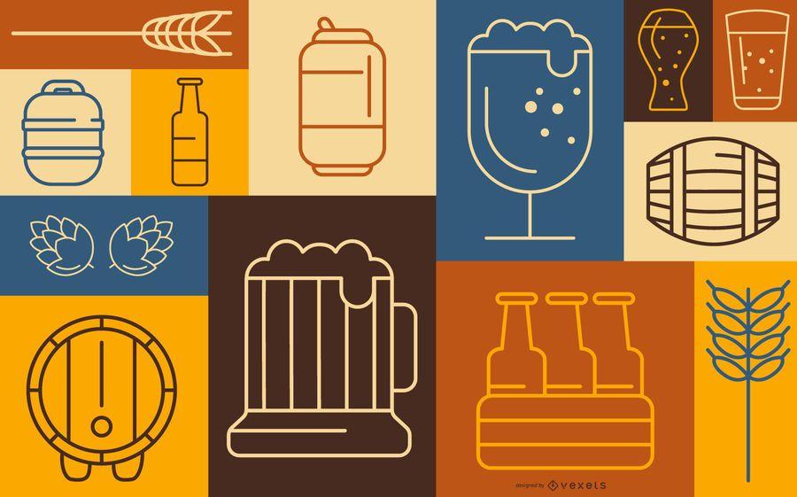 Design de banner de elemento de cerveja