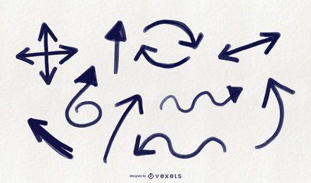 Conjunto de setas doodle