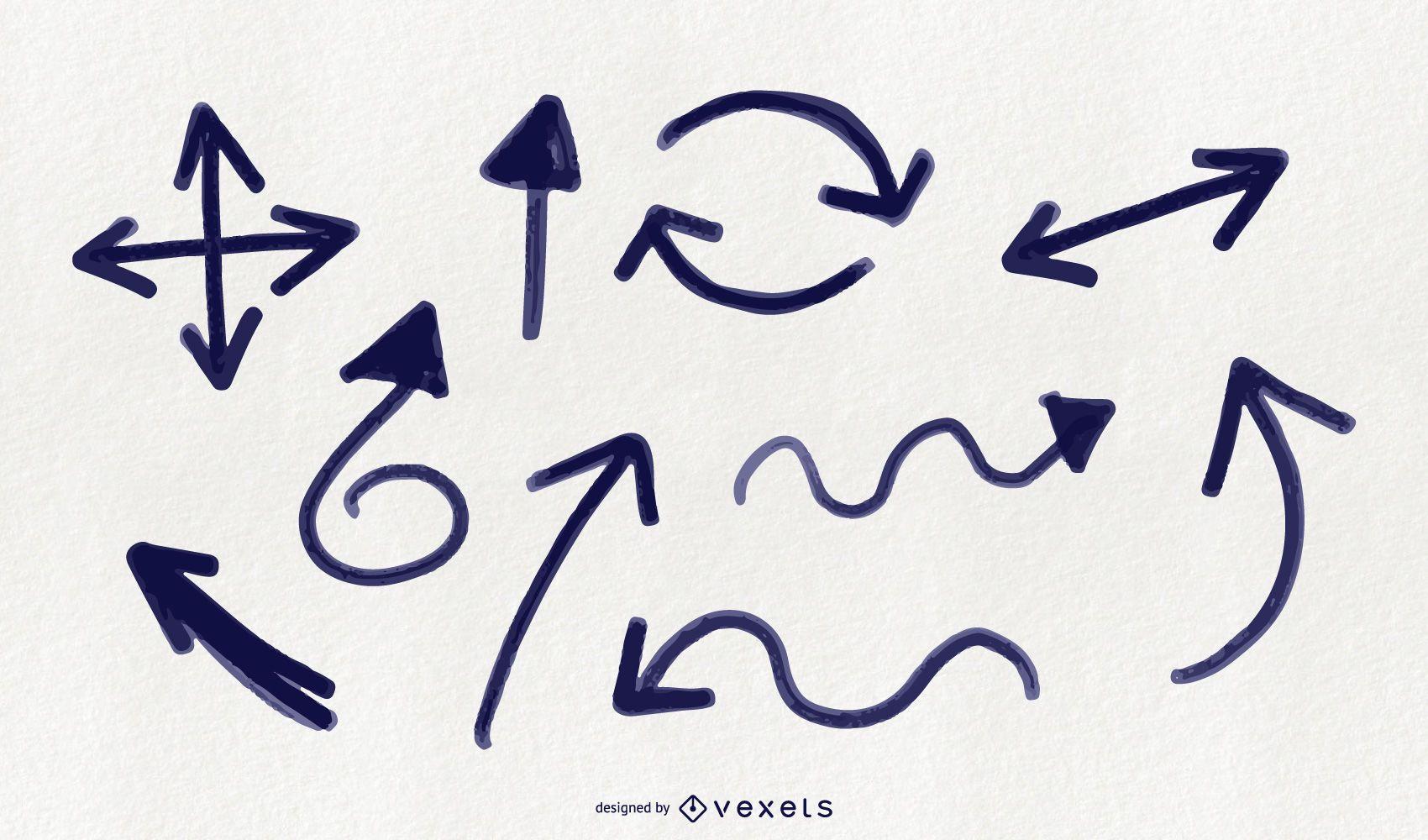 Doodle arrows set