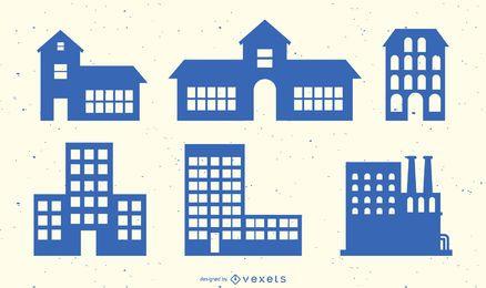 Colección de vectores de silueta de edificio
