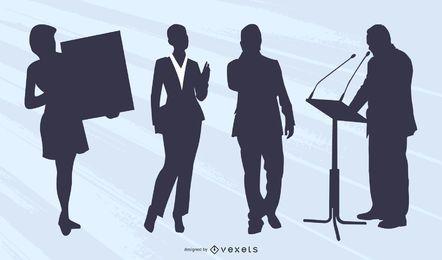 Hombre de negocios, mujer de negocios, silueta, colección