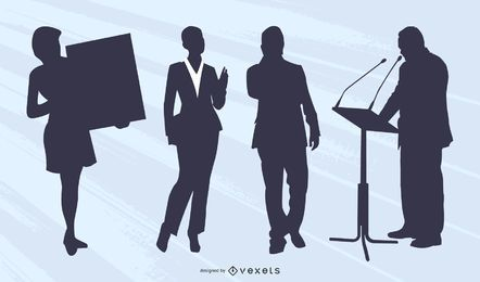 Homem negócios, executiva, silueta, cobrança
