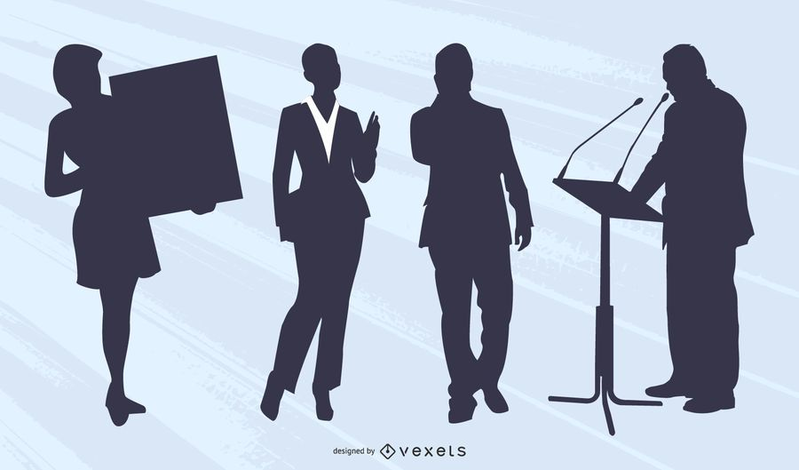 Businessman Businesswoman Silhouette Collection