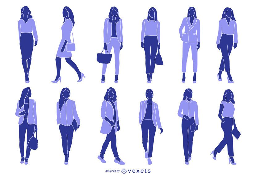 Businesswoman Colored Silhouette Collection