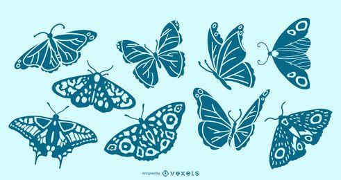 Conjunto detallado de silueta de mariposa