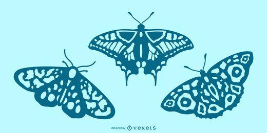 Conjunto de silhueta detalhada borboleta