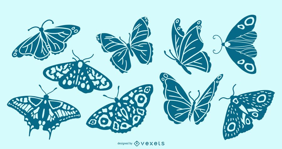 Detailed butterfly silhouette set