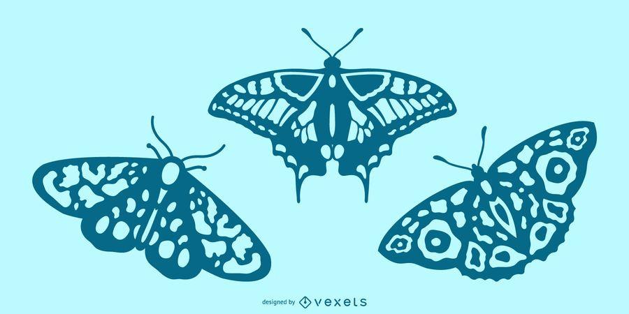 Ausführlicher Schmetterlingsschattenbildsatz