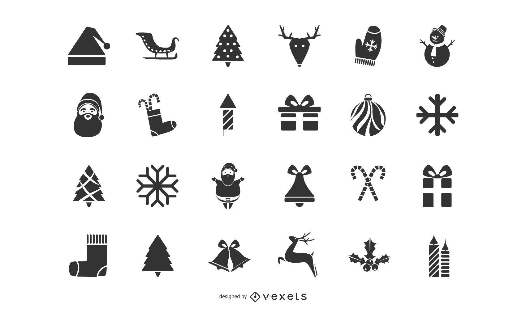 Conjunto de silueta de iconos de Navidad