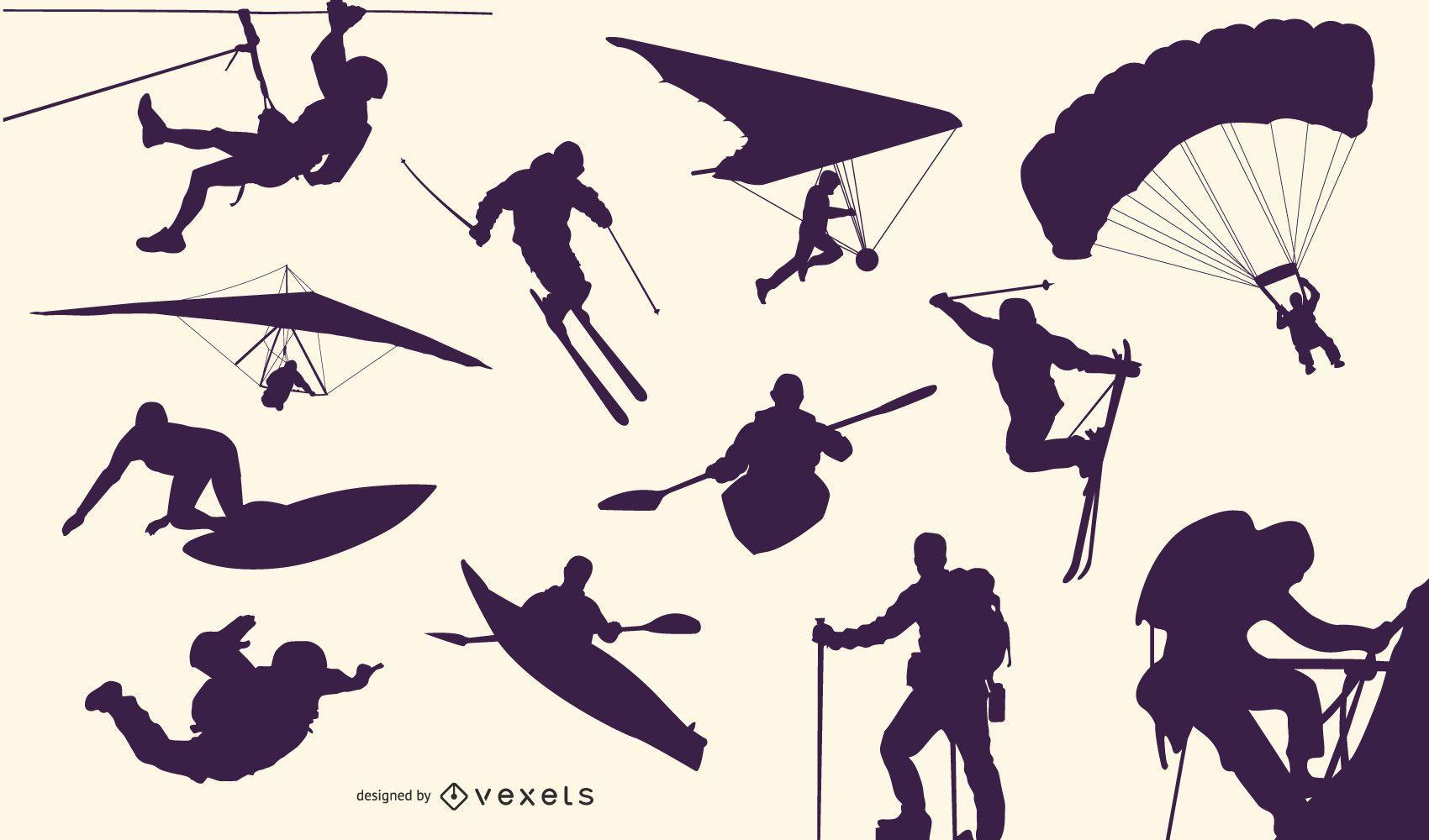 Coleção de silhuetas de esportes radicais