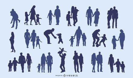 Familien-Silhouette-Sammlung