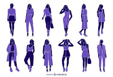Coleção de silhueta de moda mulher