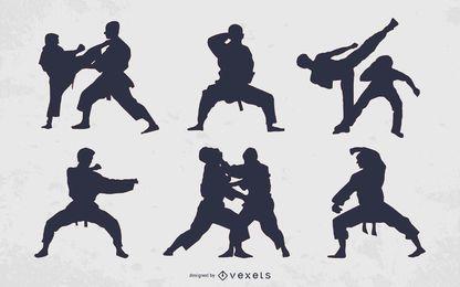 Colección de silueta de personas de artes marciales