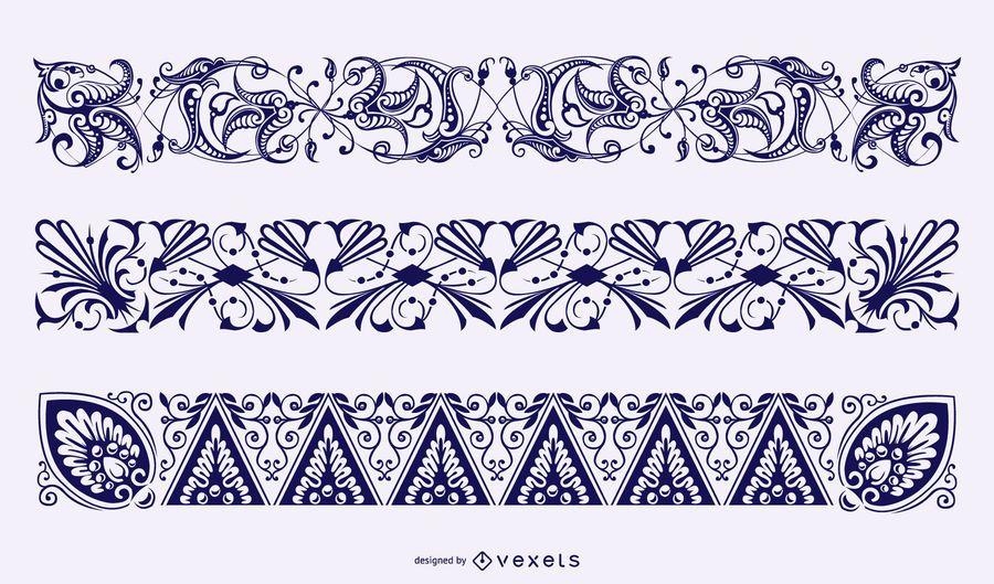 Colección de vectores de fronteras florales
