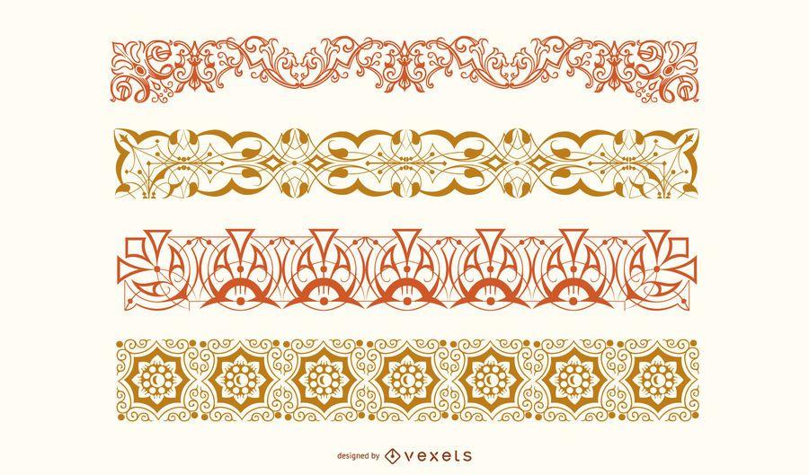 Conjunto de vectores de borde floral