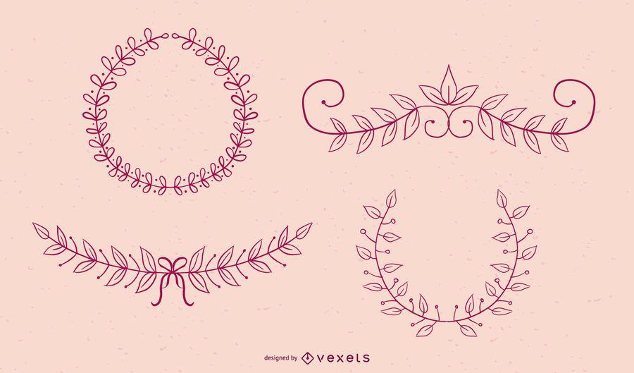 Colección de vectores de adornos florales