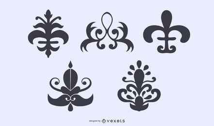 Coleção de silhueta de ornamentos florais