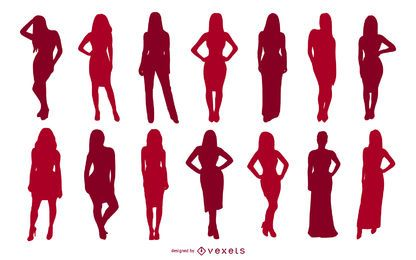 Girl Posing Silhouette Collection