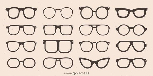 Coleção de silhueta de óculos