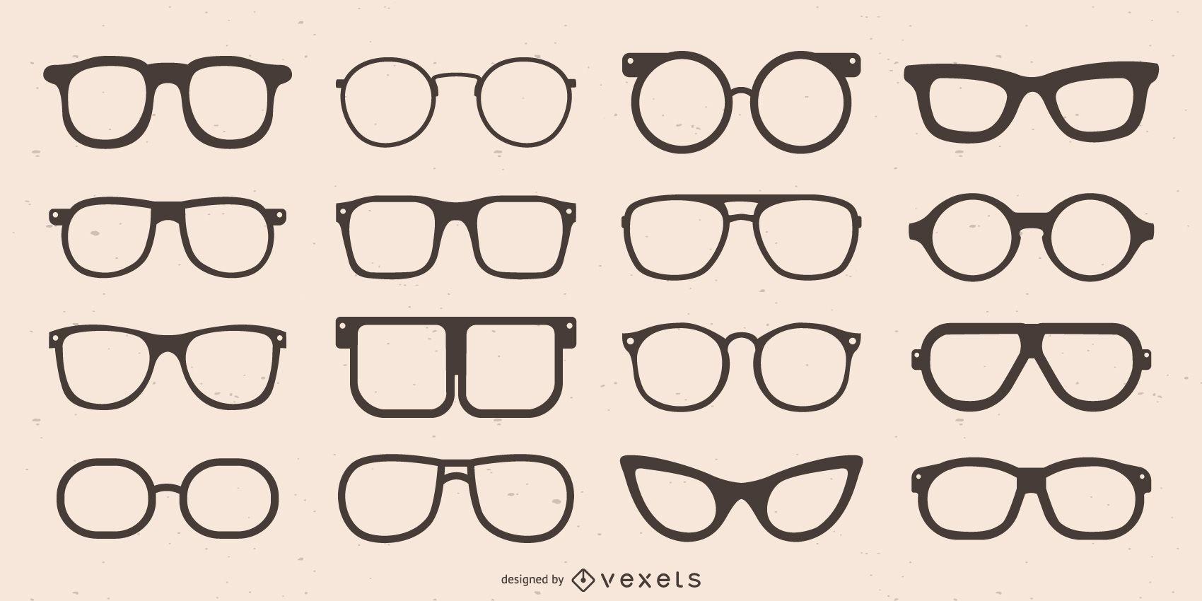 Colección de silueta de gafas