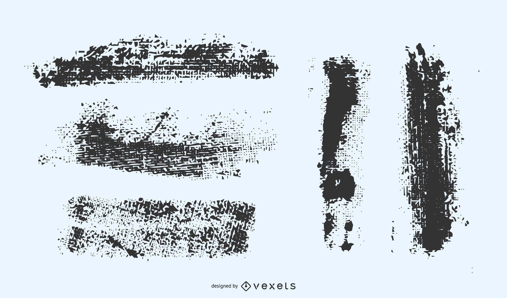 Conjunto de vectores de trazos grunge