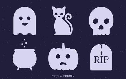Nette Halloween-Schattenbild-Sammlung