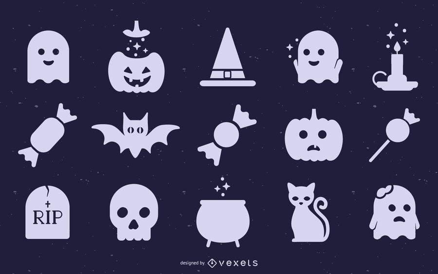 Linda colección de silueta de Halloween
