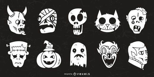 Colección de silueta de personajes de Halloween