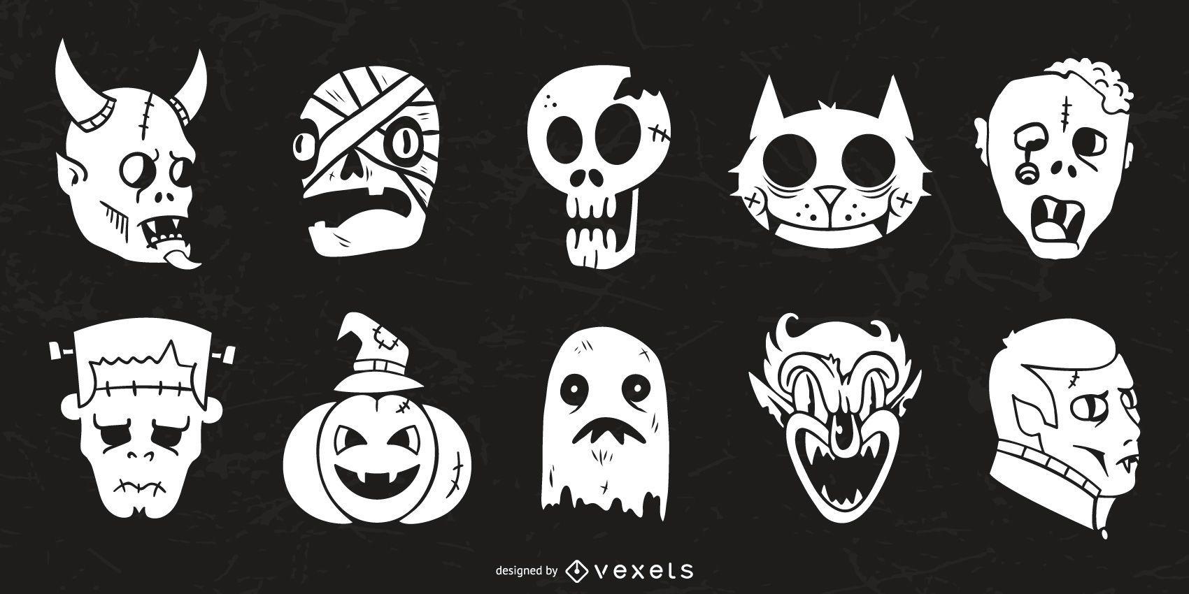 Colecci?n de silueta de personajes de Halloween