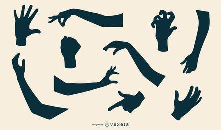 Coleção de silhueta de mão e braço