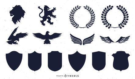 Heraldische Grafik-Schattenbild-Sammlung