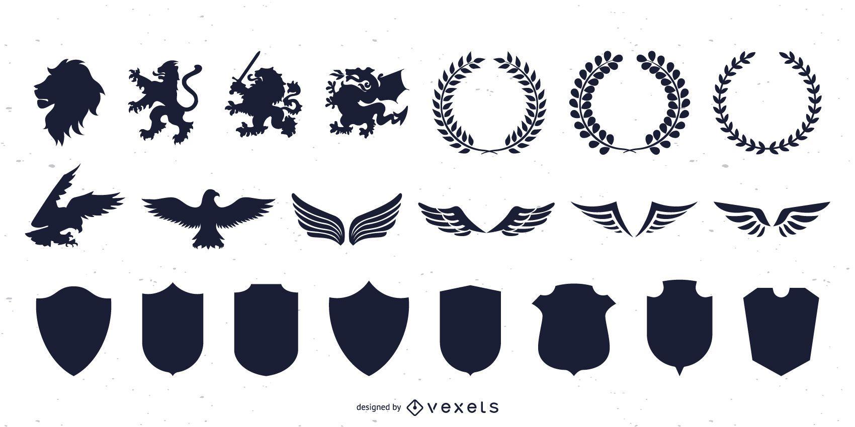 Heraldic Graphics Silhouette Collection
