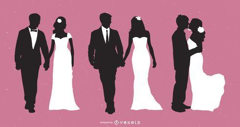Colección de silueta de pareja casada