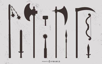 Conjunto de silhueta de arma medieval