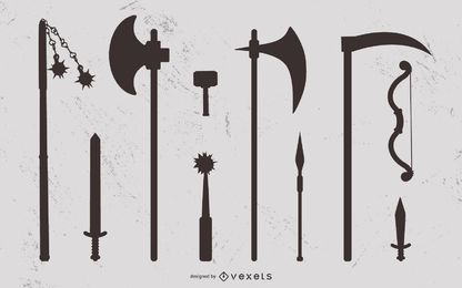 Medieval weapon silhouette set