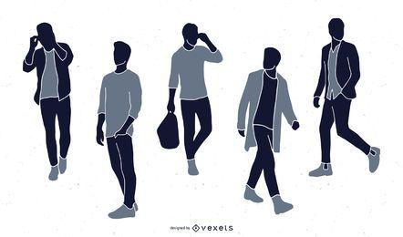 Coleção de silhueta de moda masculina