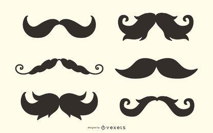 Conjunto de silueta de bigote hipster