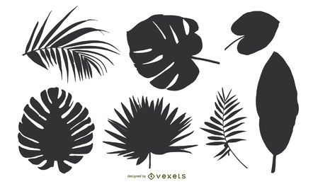 Conjunto de silhueta de folhas tropicais