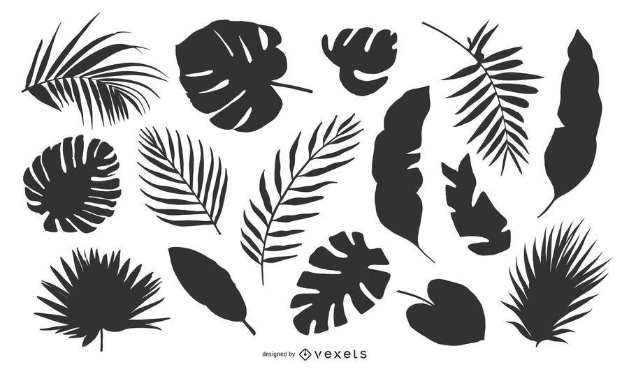 Conjunto de silueta de hojas tropicales