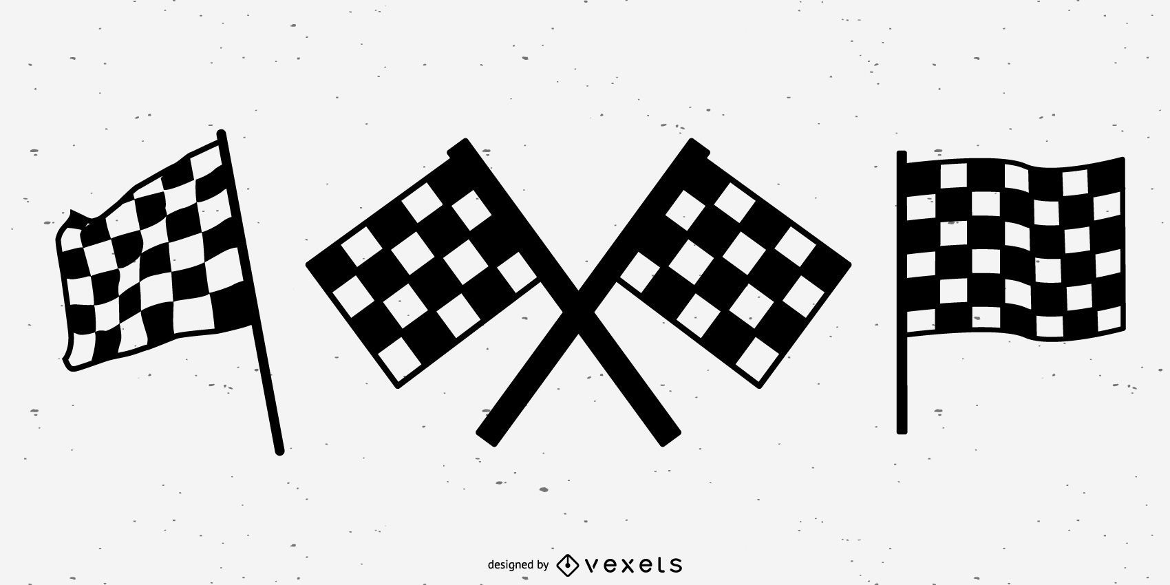 Racing flags silhouette set