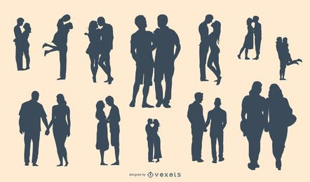 Conjunto de silueta de pareja romántica