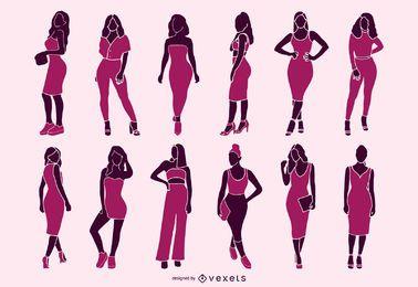 Sexy women silhouette set
