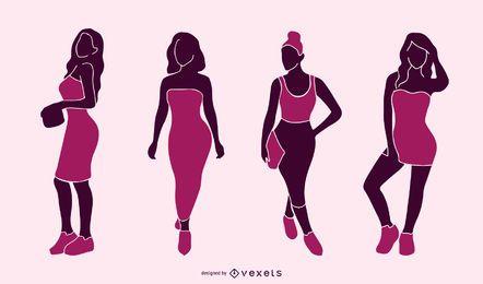 Conjunto de silhueta de mulheres sexy