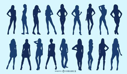 Conjunto de silhueta de mulher magra