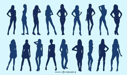 Conjunto de silueta de mujer flaca
